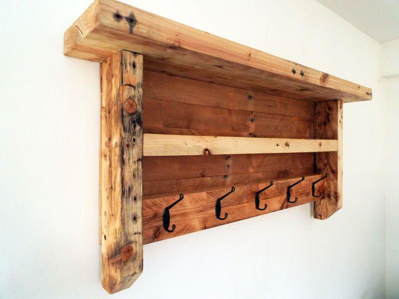 Wooden Coat Rack Rustic Coat Hanger Shelf Reclaimed Hooks Shabby Chic Farmhouse Rustic Coat Rack Rustic Wood Projects Wooden Pallet Projects