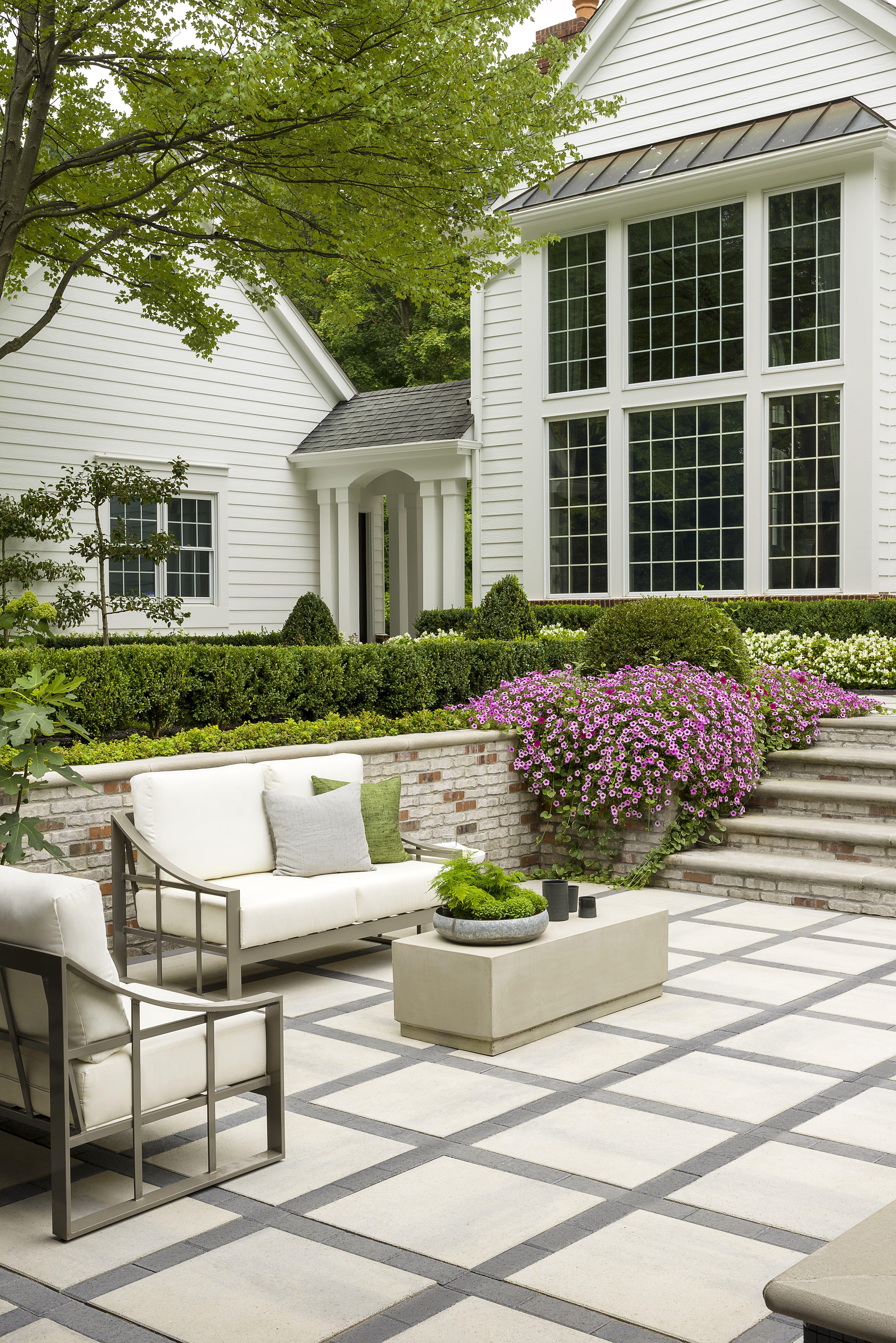 Backyard Landscaping | Patio pavers design, Concrete patio ... on Square Concrete Patio Ideas  id=69089