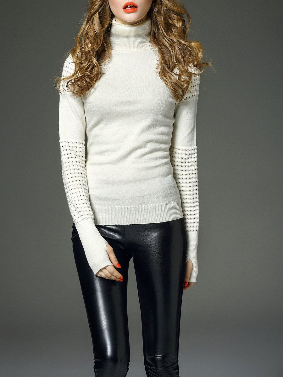 D.FANNI Beige Pierced Long Sleeve Plain Cotton Sweater | Sweaters ...