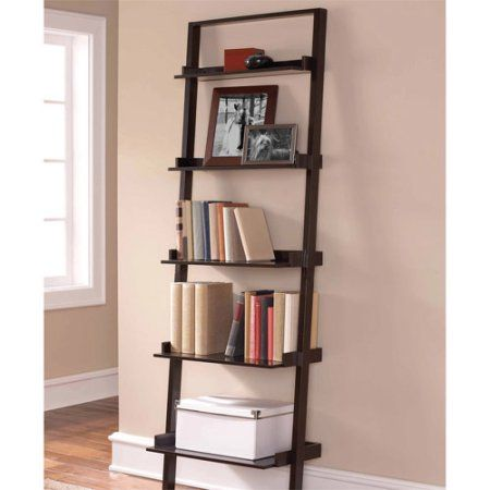 Leaning Ladder Bookcase Espresso Contemporary Style Space Saving Tiered Design Shallow Shelves At The Top Deeper Bottom Easy Assembly Book