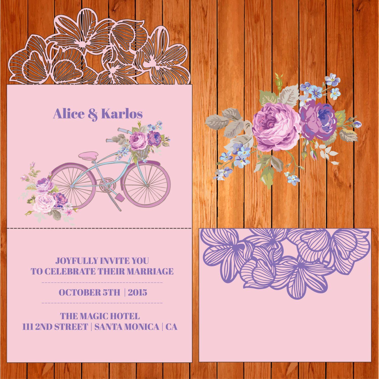 Invitación tríptico de la boda tarjeta plantilla orquídeas y hojas ...