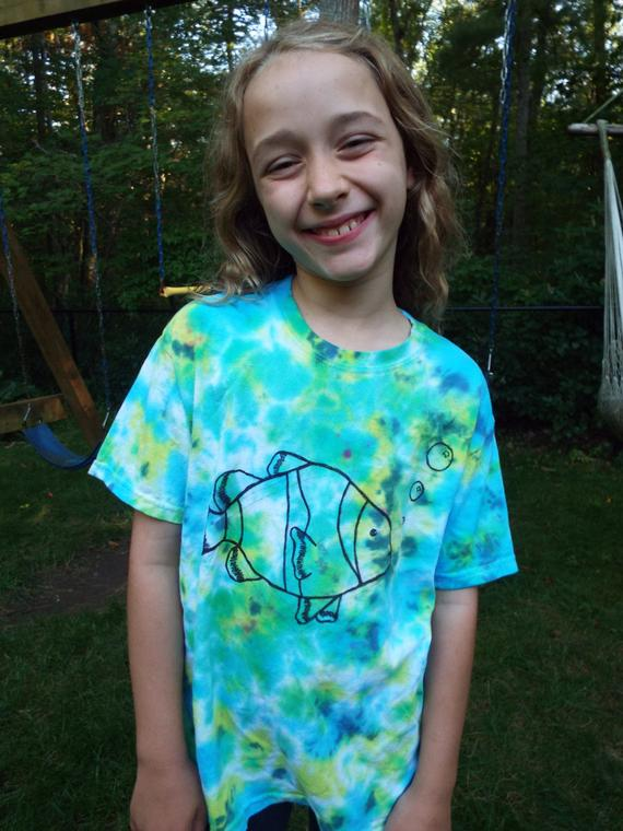 4a44486a17516 Toddler Fish Shirt, Custom Tie Dye Shirt for toddlers, Toddler Tie ...