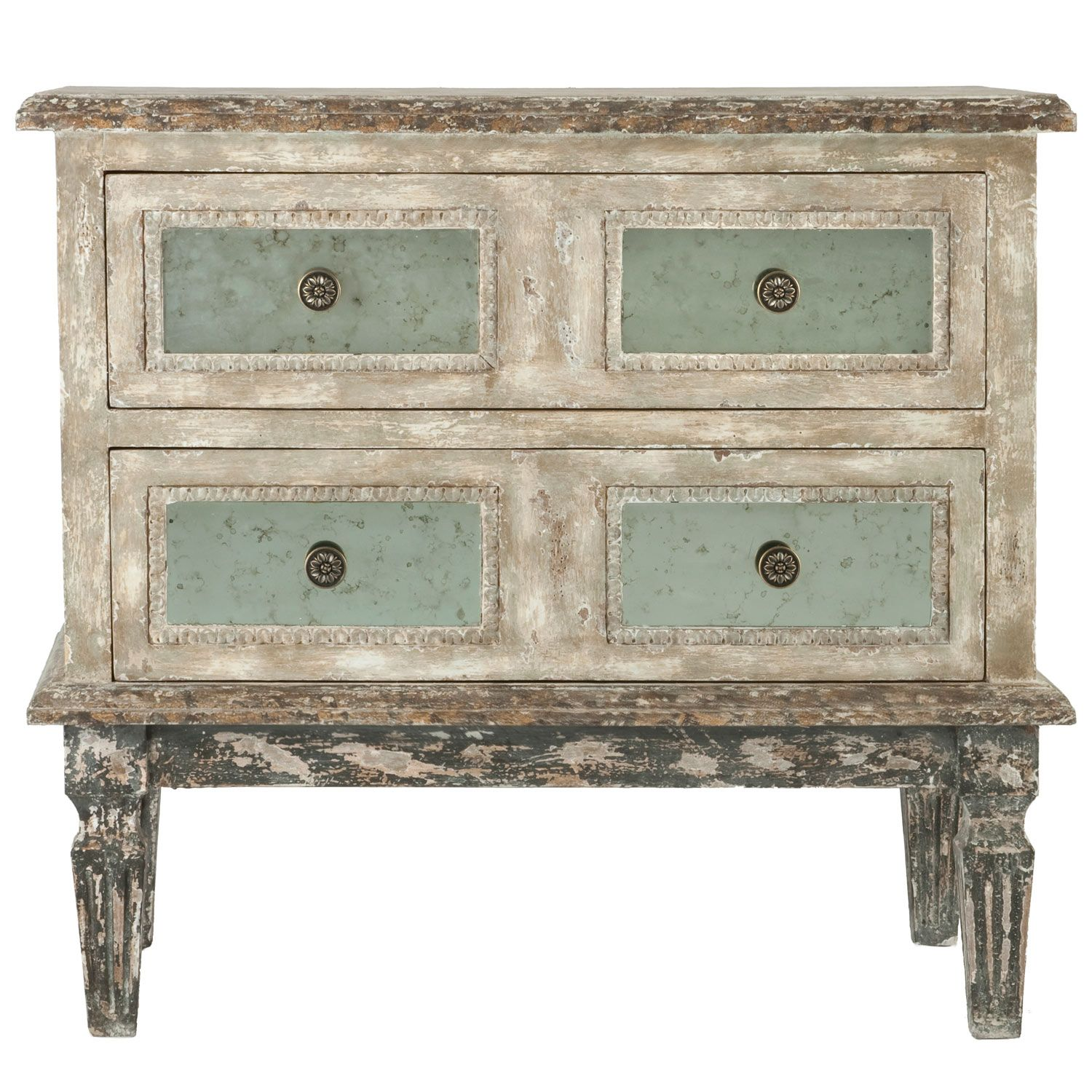 Aidan Gray Heavily Distressed Grey And Cream Accent Piece Gray