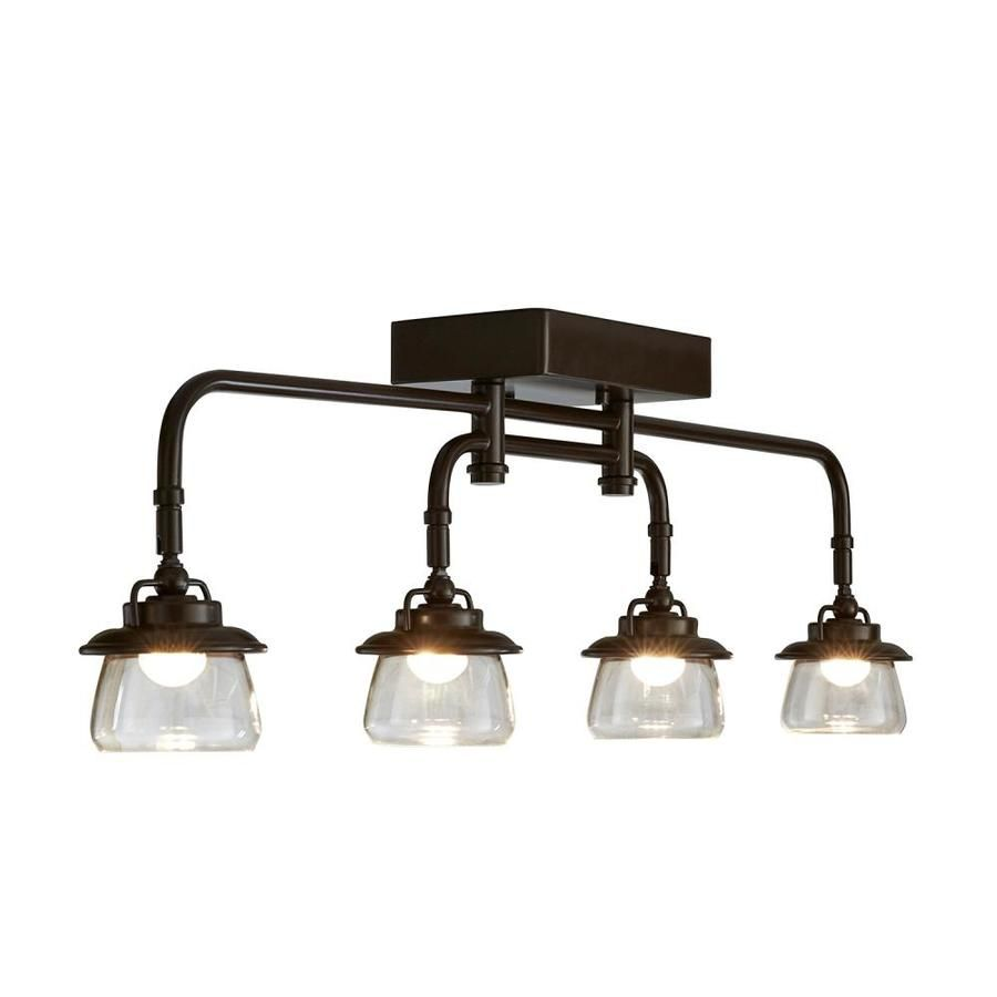 Photo of Allen + Roth Bristow 4-Light 32-In Specialty Bronze Led Track Bar Fixed Track Light Kit 16102
