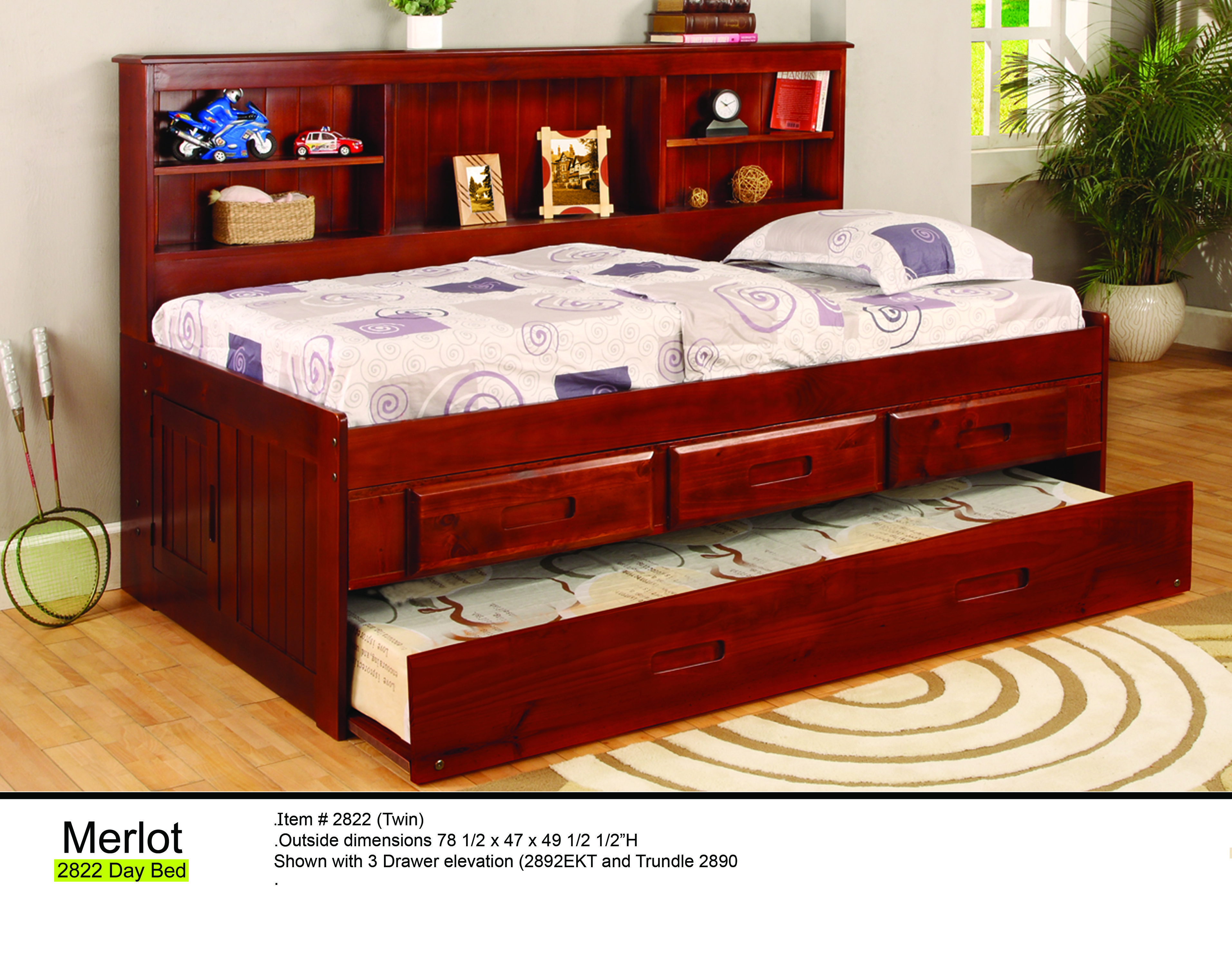 2822 Twin Bookcase Daybed By Donco Kids Features Solid