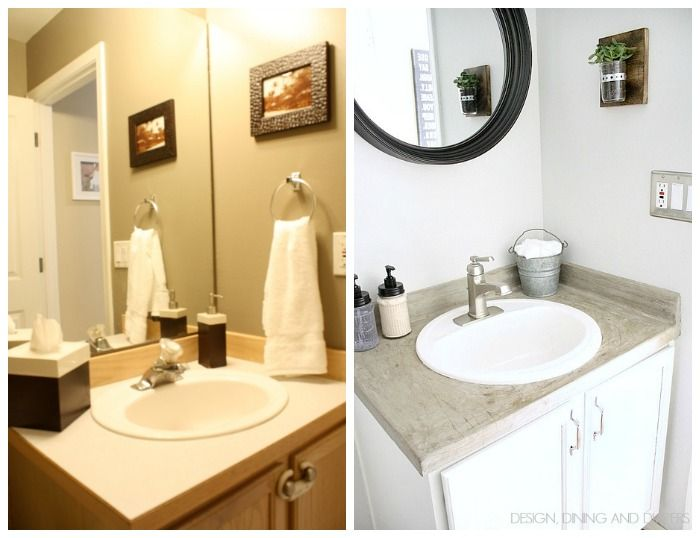 Bathroom Designs On A Budget Budget Powder Room Makeover  Powder Room Countertop And Concrete