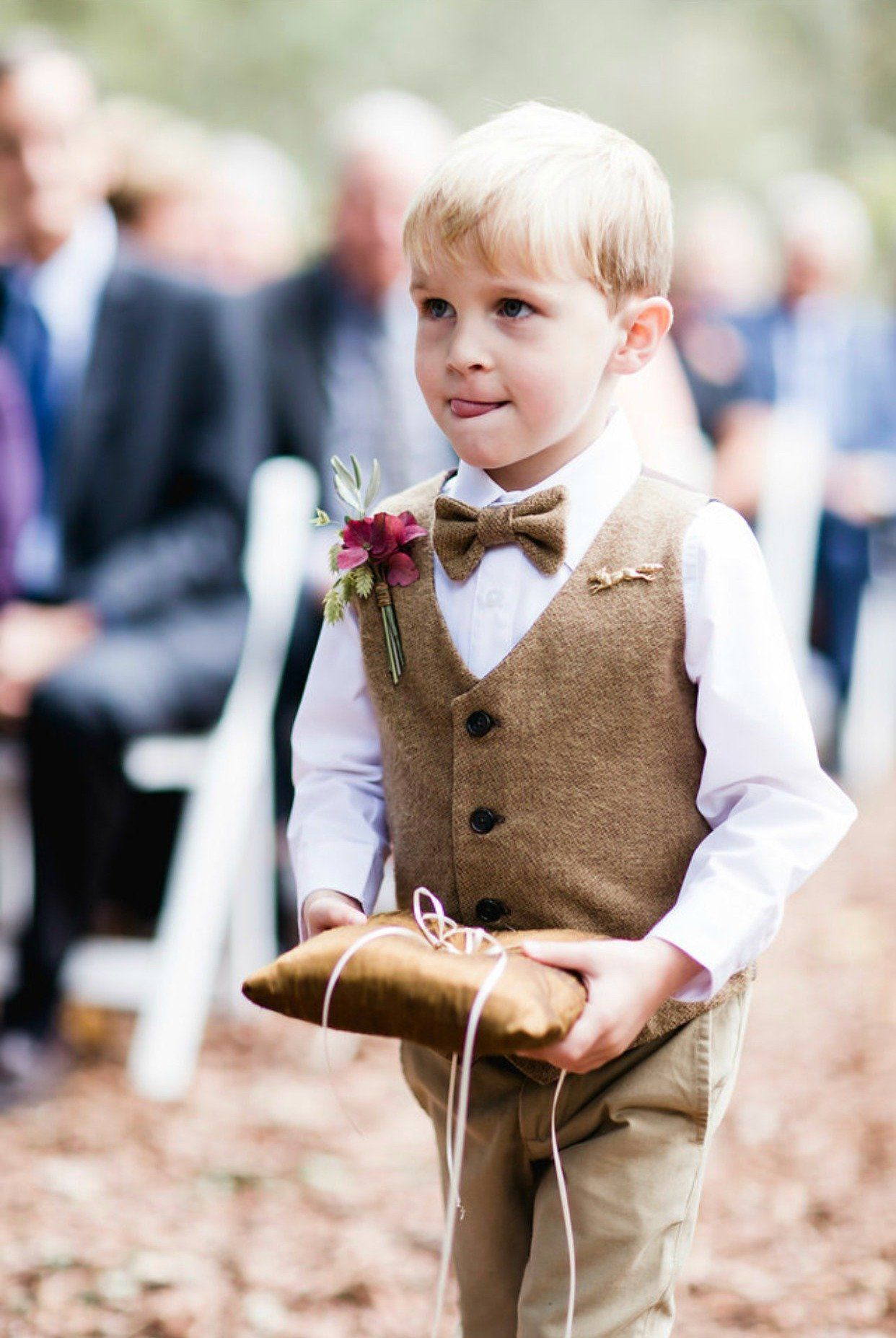 Brown Cotton Tweed Vest in 2019 Ring bearer outfit, Gold