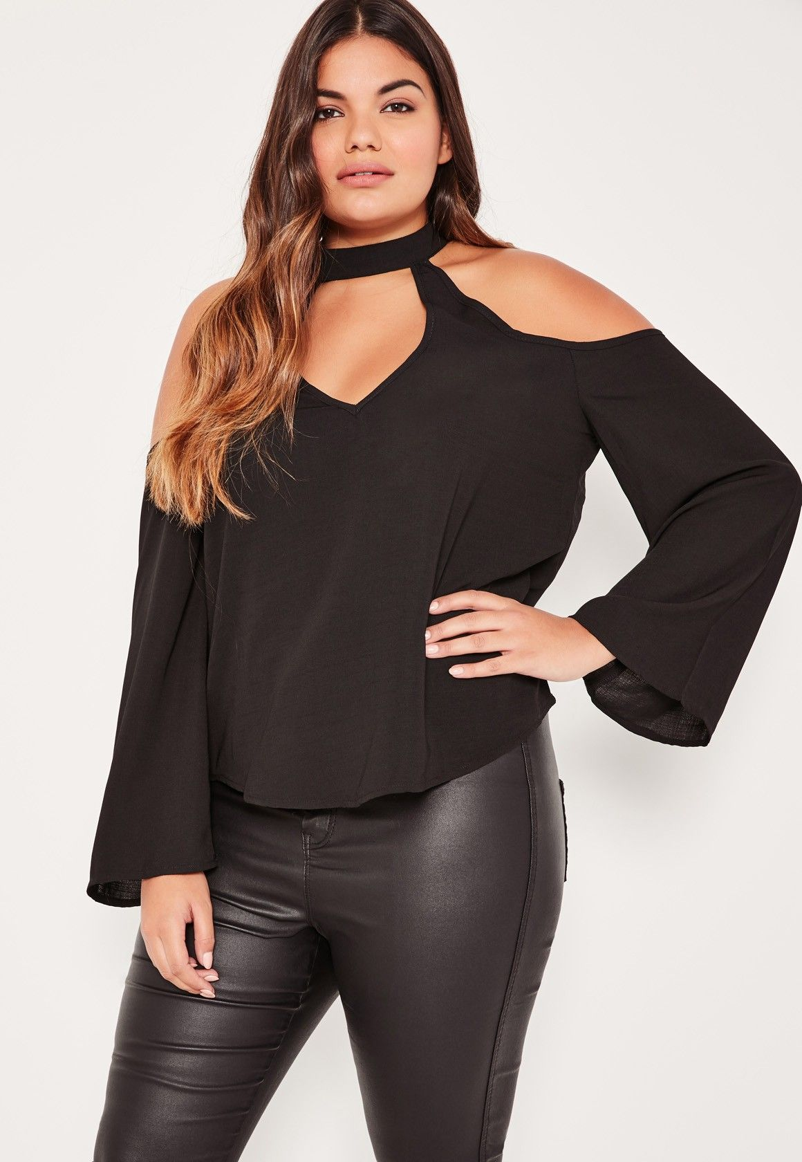 1cde19b4fb7fbf Black Choker Neck Cold Shoulder Blouse | plus size | Neck choker ...
