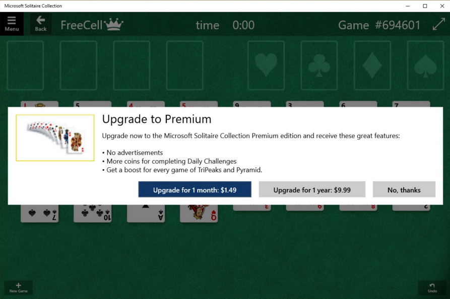 Solitaire was removed from Windows 10 and users must now