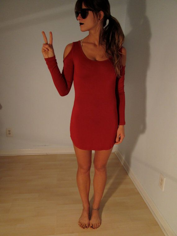 Red Cutout Shoulders Mini Dress XS Boho Hippie by BohemianSeed, $30.00