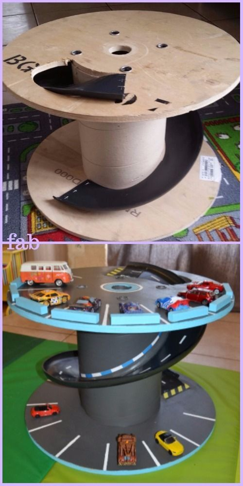 Toy Car Holder Tutorial : Diy wood cable reel race car track tutorial home decor