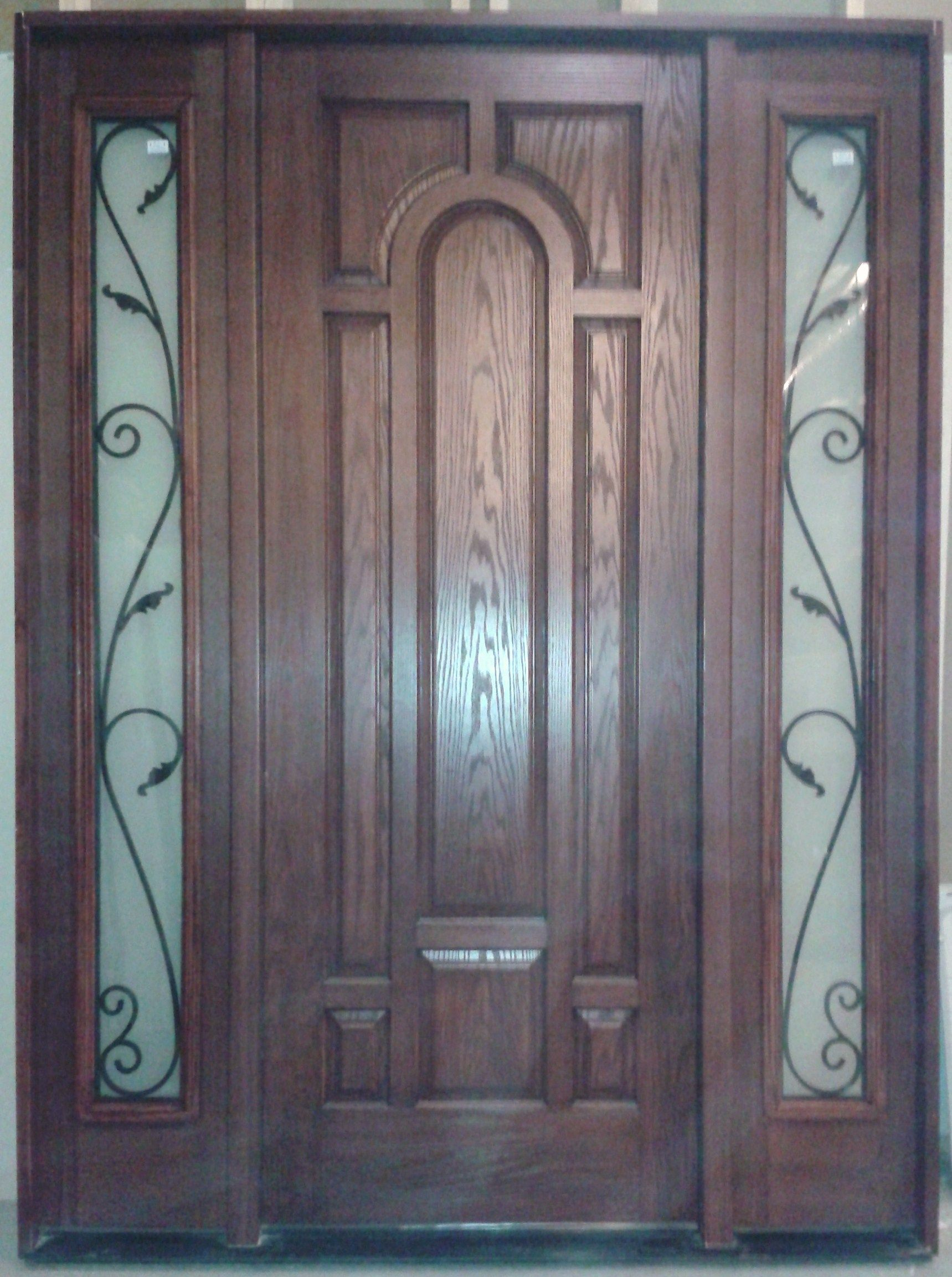 Pre Stained Fiberglass Entrance Door With Two Sidelites With Full