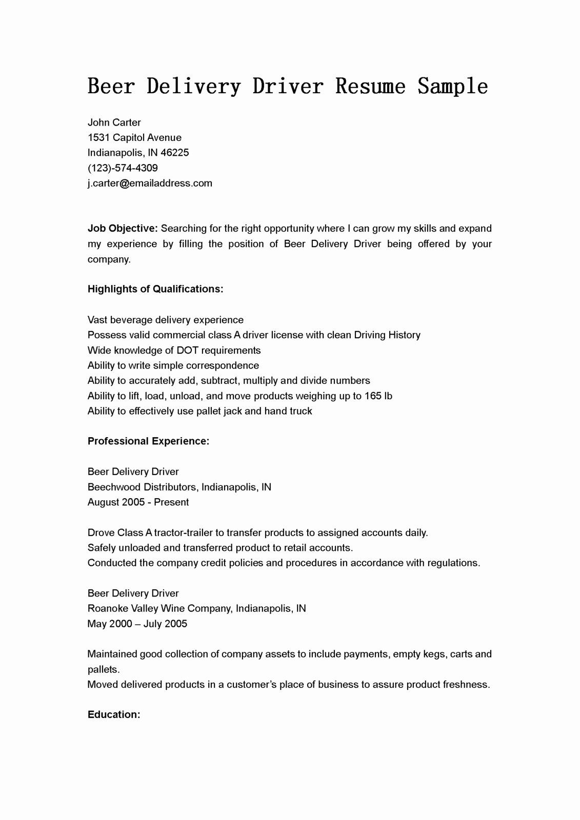 Delivery driver resume examples inspirational driver