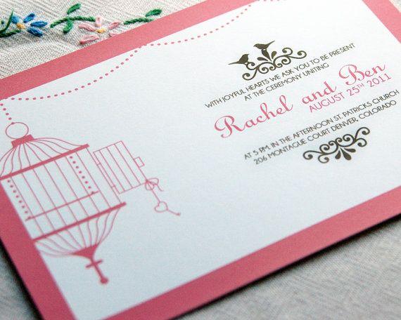 Pink Birdcage Wedding Invite