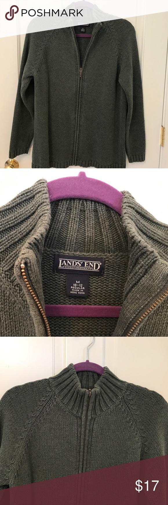 LANDS END Cotton Zip Drifter Cardigan Sweater M | Cotton ...