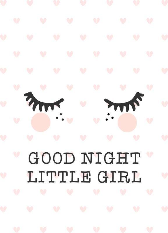 Poster Goodnight A3   Babykamer meisje   Pinterest - Babykamer ...