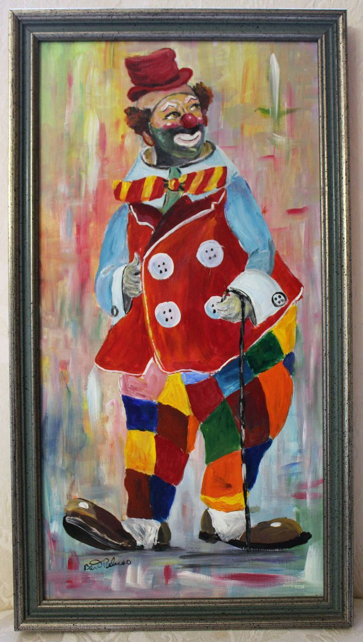 Pittore Romano Mussolini Vintage Signed Clown Oil Painting By Bart Peluso From