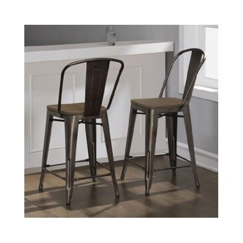 Rustic Bar Stools Set Of 2 Industrial Wood Metal Kitchen Counter Height Stool Counter Stools Kitchen Stools Kitchen Bar Stools