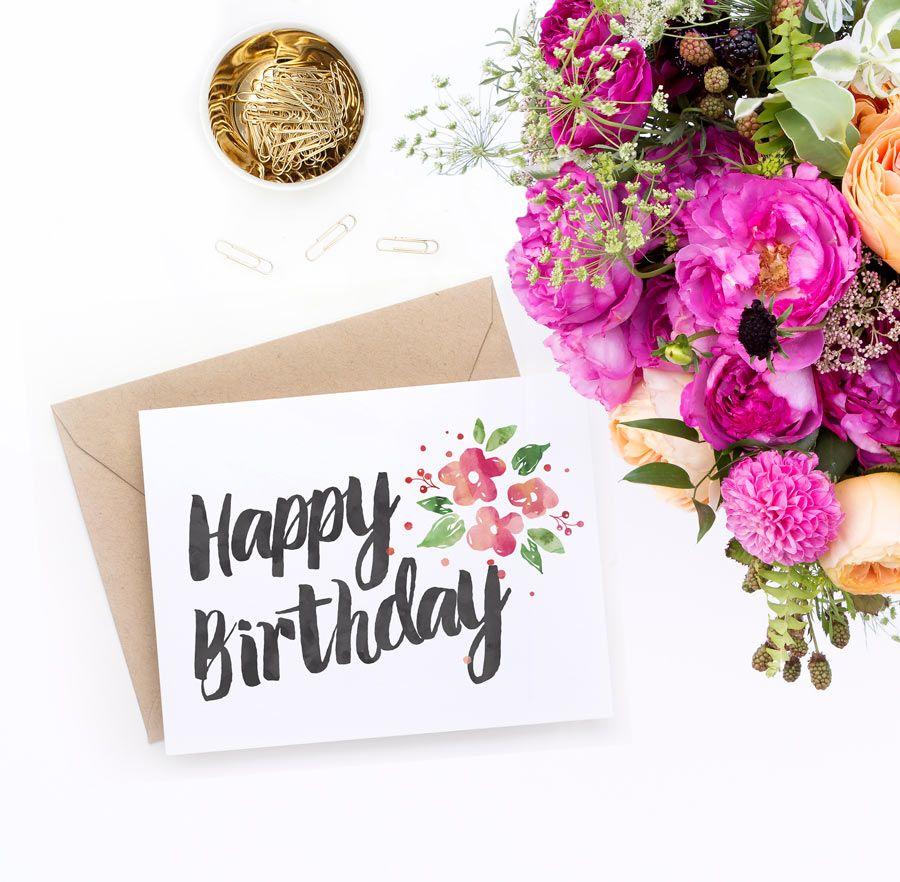 Printable Birthday Card Garden Blossoms Watercolor