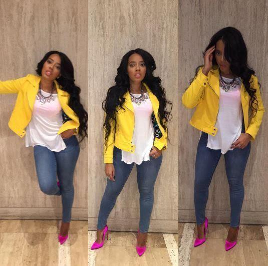 Wardrobe Query: Angela Simmonsu0027s Jojo Simmons Baby Shower Vince Camuto  Yellow Asymmetrical Mod Scuba Jacket