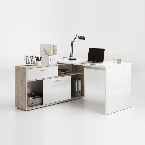 Dalton Corner Computer Desk In Sand Oak And Gloss White ...