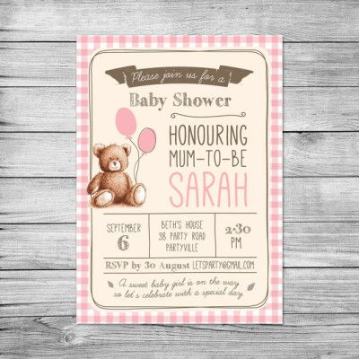 Gingham Teddy Bears Picnic baby shower invitations – Teddy Bears Picnic Party Invitations