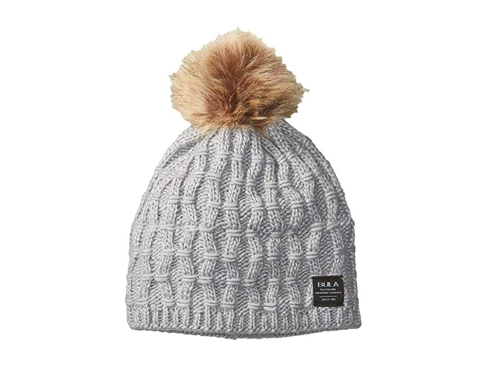 27b6d29c3af BULA Twisted Beanie (Medium Gray) Beanies. BULA shines with the Twisted  Beanie. Cable-knit beanie with a classic fit. Faux-fur pom at top.