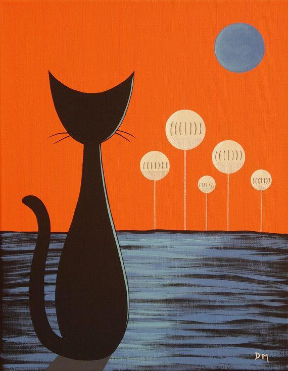 120 Retro Art Ideas Retro Art Mid Century Modern Art Mid Century Cat