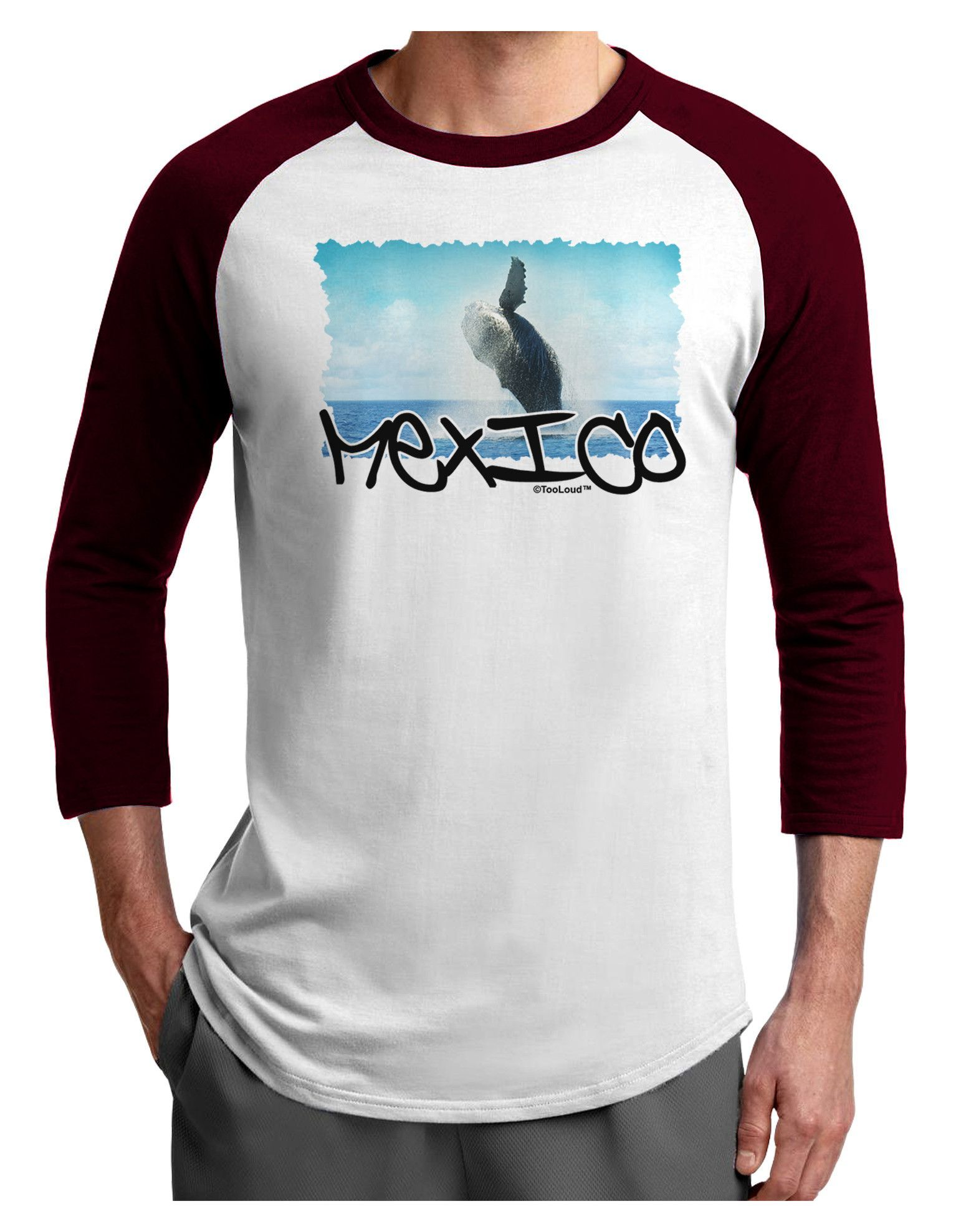 TooLoud Mexico - Whale Watching Cut-out Adult Raglan Shirt