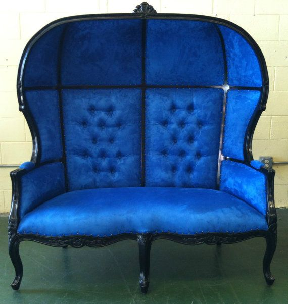 Black And Blue Porters Sofa Chair Domed Bonnet By VENETIANSOCIETY, $1689.00