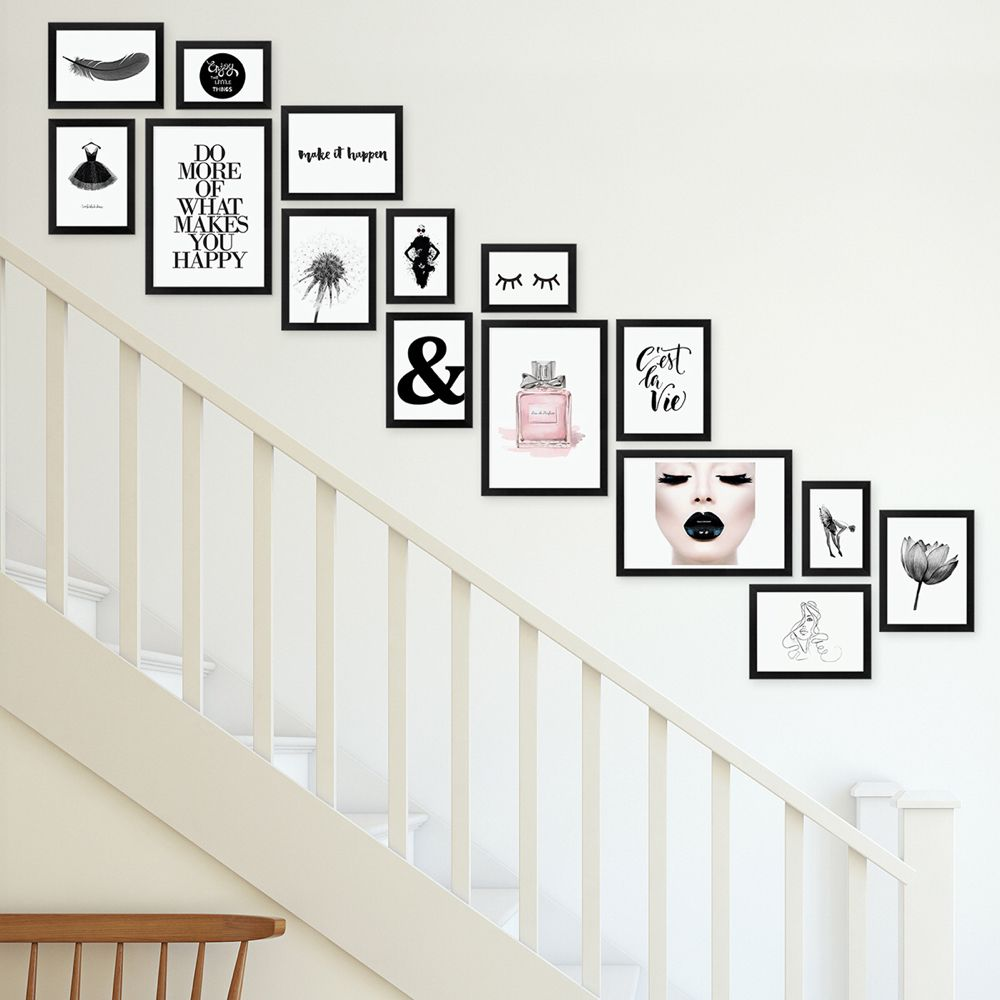 15er Bilderwand Treppenhaus – Bilderrahmen-Set Modern Schwarz aus MDF