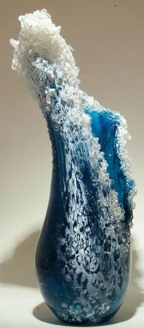 """BD HIGH WAVE VASE - 3X by Paul DeSomma and Marsha Blaker, approx. 15"""" h x 7"""" w"""