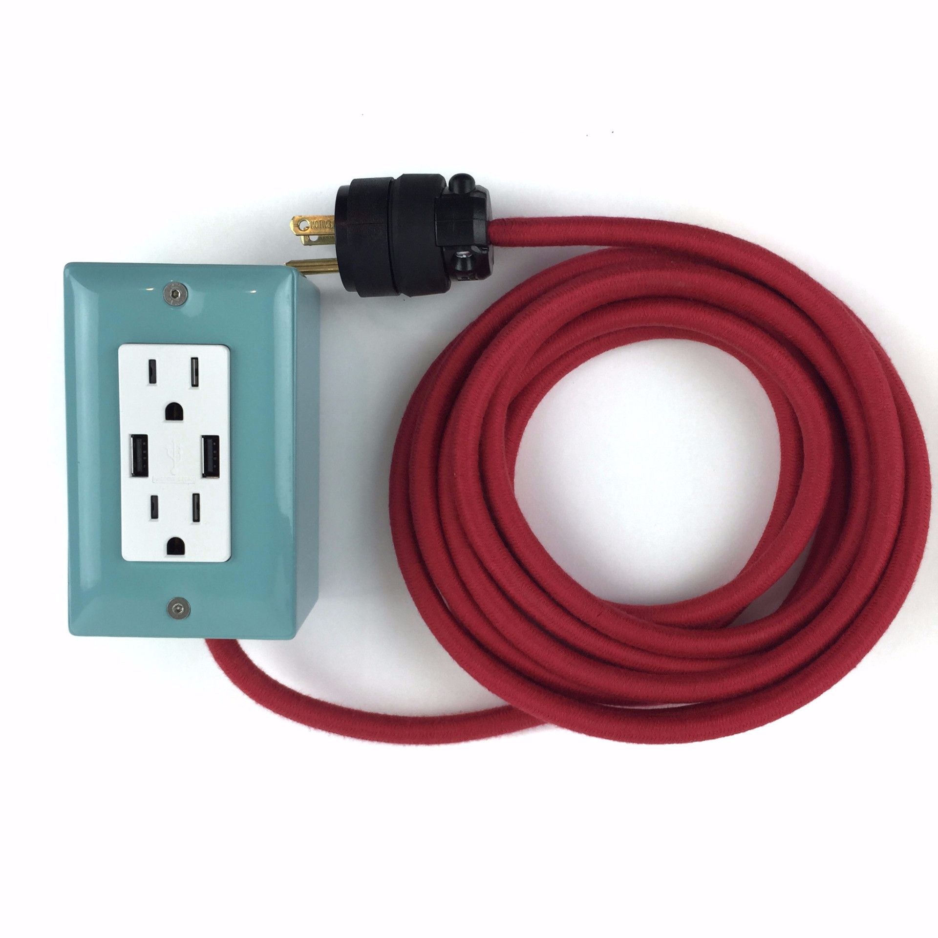 The First Smart Chip Extension Cord 12 Extō Dual Usb Dual Outlet Mint Conway Electric Extension Cord Mint Top
