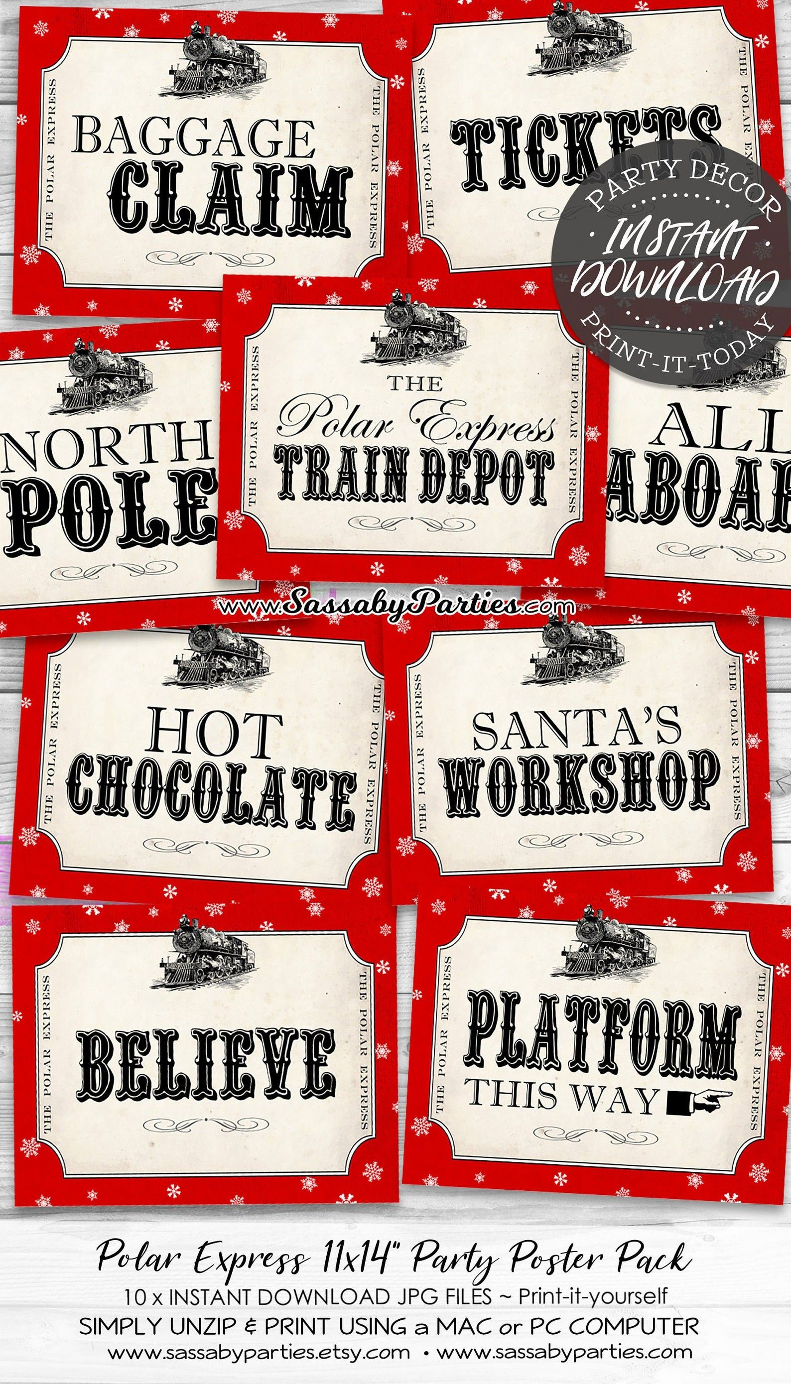 Polar Express Party Signs Instant Download Printable Posters