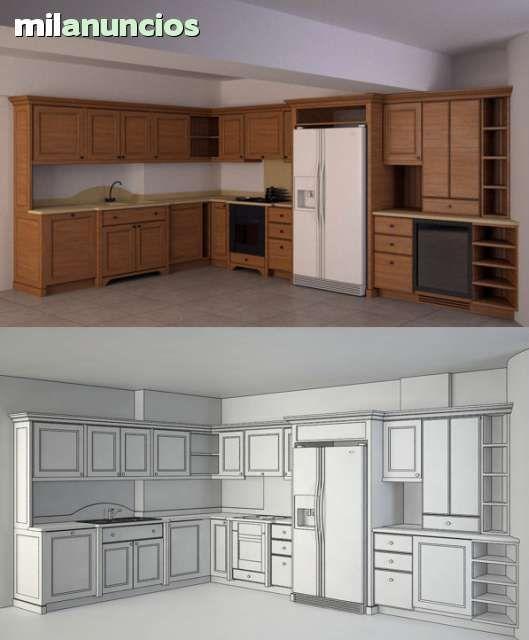 Modelo 3d de su cocina a partir de planos o croquis en for Planos de cocinas 3d