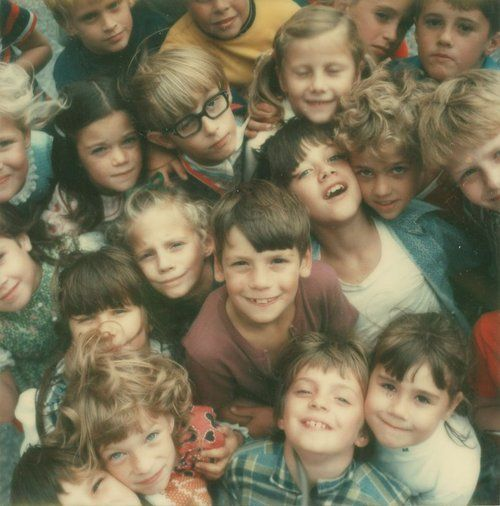 Children at a school in Lancaster County, Penn., photographed by Co Rentmeester with a Polaroid SX-70 camera, 1972, for LIFE.