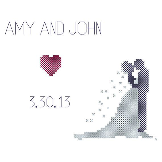 Modern Wedding Counted Cross Stitch Pattern with Bride and Groom Silhouette personalized with wedding date and names
