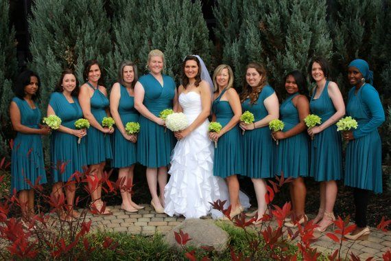 peacock teal bridesmaid dresses
