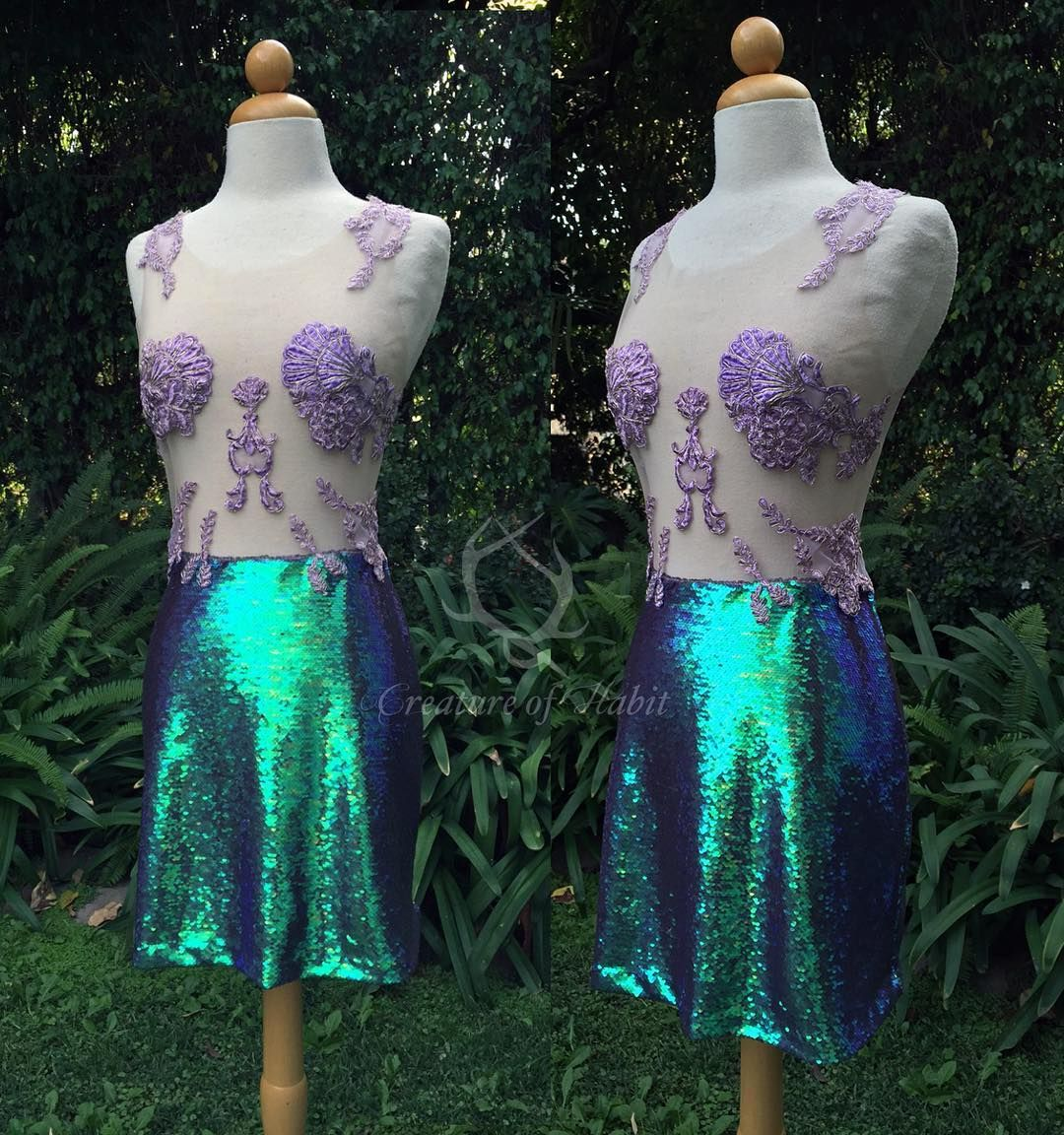 """A slightly different version of my Ariel inspired dress for lovely @luckyyyyyyy 💕 Featuring color shifting sequins, hand cut and hand dyed lace. All hand sewn to a nude tulle to create the illusion of the lace """"floating"""" on the body. So much fun!! Email me to order your own made to measure design - creatureofhabit.info@gmail.com"""