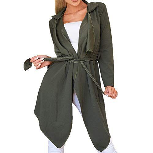 3cc720b1d321 juqilu Femmes Trench Coat Veste Ceinture Assymetric Casual Cardigan Loose Coat  avec Revers Automne Coupe-