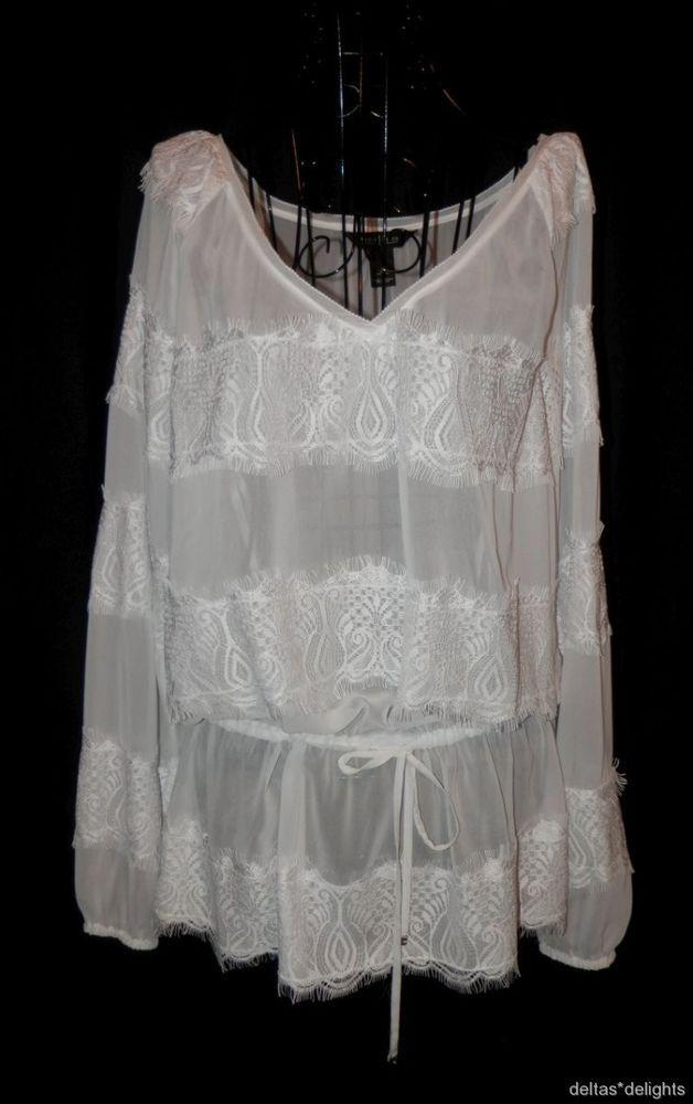 b0871713094f7 WHITE HOUSE BLACK MARKET TOP BLOUSE M Medium Sheer Lace Vneck Long Sleeve  Peplum  WhiteHouseBlackMarket  Blouse  EveningOccasion