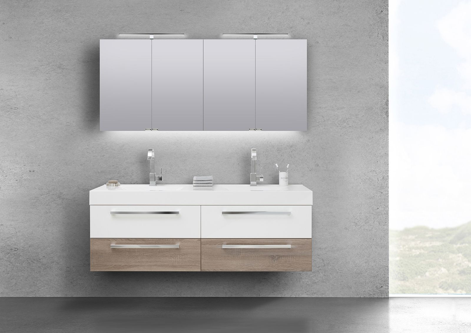 Badmobel Set Doppelwaschbecken 160 Cm Mit Unterschrank