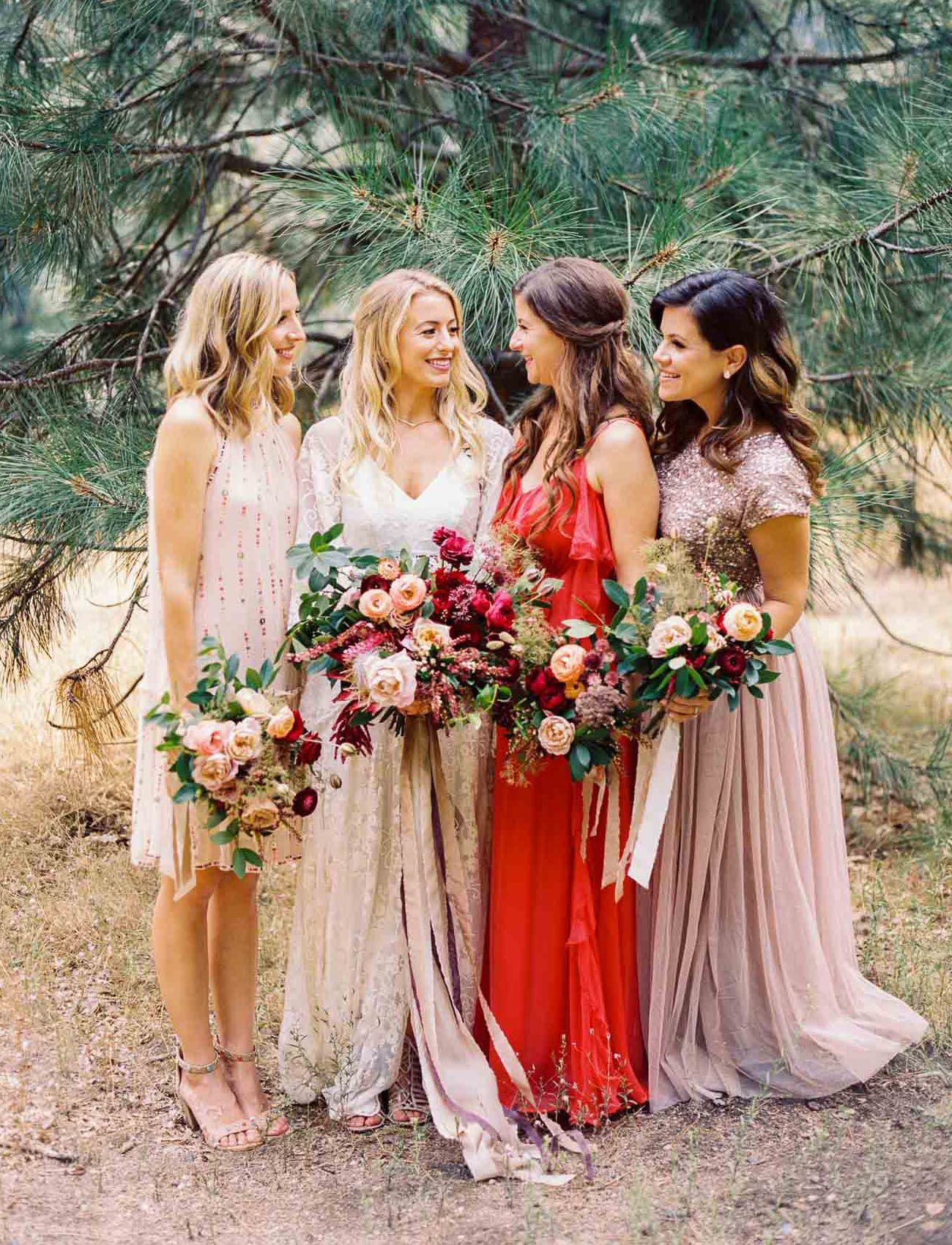 When A Wedding Planner Gets Married Bohemian Inspired Nuptials In The Heart Of Yosemite Green Wedding Shoes Bridesmaid Dresses Boho Wedding Bridesmaids Boho Bridesmaid