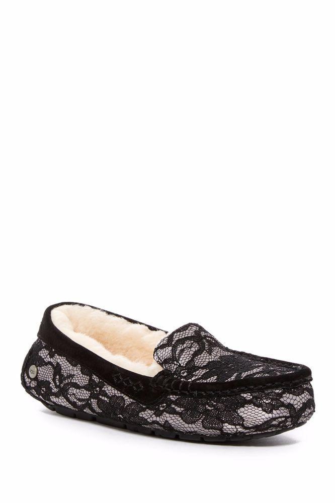 UGGS Ugg Ansley Antoinette Slipper Shearling Black Lace Leather Moccasin 5 #UGGAustralia #Moccasins