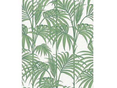 Papier peint vinyle grainé intissé motif feuille verte 1005x052m