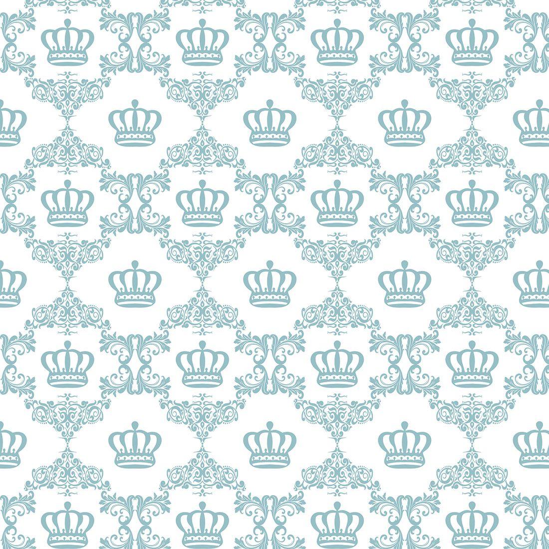 Papel De Parede Arabesco Com Coroas Em Tons De Rosa Azul Marinho  ~ Papel De Parede Azul Tiffany Quarto