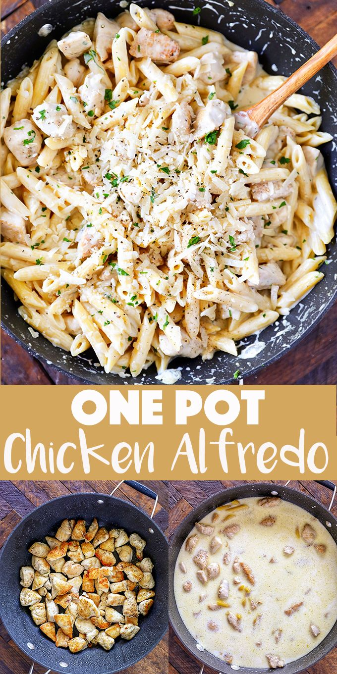 The Best One Pot Chicken Alfredo Recipe #chickenalfredo