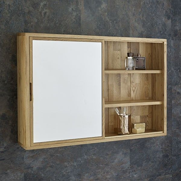 Bathroom Cabinets And Mirrors sliding door 80cm wide solid oak mirror bathroom cabinet and