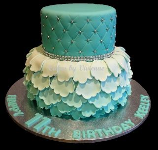 Turquoise Ombre Ruffle and Quilted Birthday Cake . Iced and decorated cake…