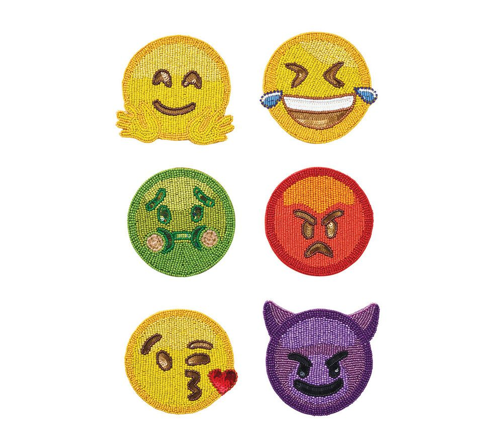 Emoji 2 0 Coasters In Multi Set Of 6 In A Gift Bag Leather Coaster Set Kim Seybert Coaster Set